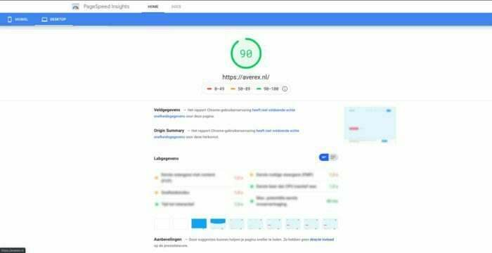Pagespeed resultaat Averex website
